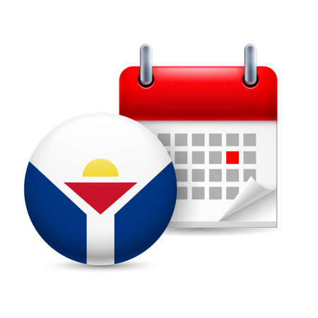 martin: Calendar and round flag icon. National holiday in Saint Martin