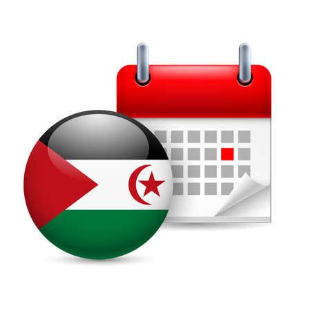 sahrawi arab democratic republic: Calendar and round flag icon. National holiday in Sahrawi Arab Democratic Republic Illustration