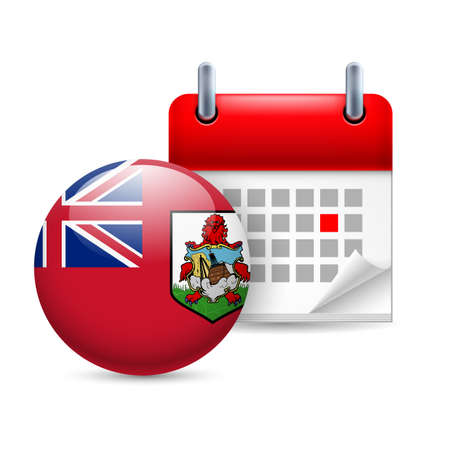 overseas: Calendar and round Bermudian flag icon. National holiday in Bermuda Illustration