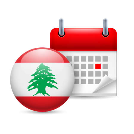 Calendar and round Lebanese flag icon. National holiday in Lebanon Vector