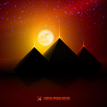 ancient civilization: Red and orange night  egypt  desert  landscape background  illustration with moon, pyramids, landmark and stars