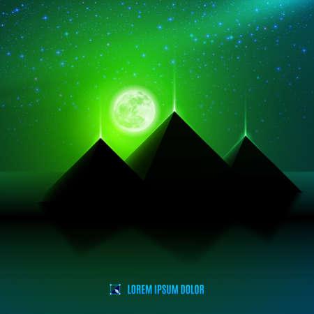 Noche verde desierto egipto paisaje de fantasía de ilustración de fondo con la luna, las pirámides y las estrellas