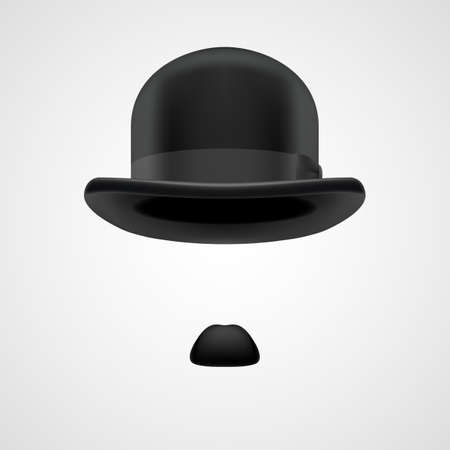 small moustaches and retro bowler hat, victorian gentleman aristocrat on grey bacground