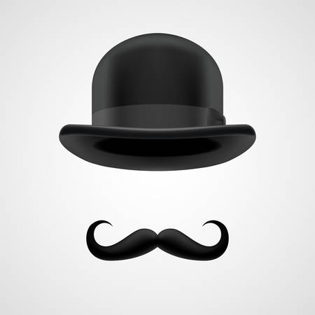 englishman: curly moustaches and funny bowler hat, rich gentleman on grey bacground