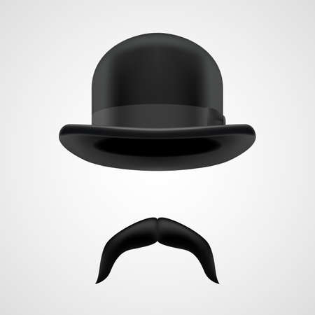dropped moustaches and bowler hat elements.  funny victorian gentleman on grey bacground Vector