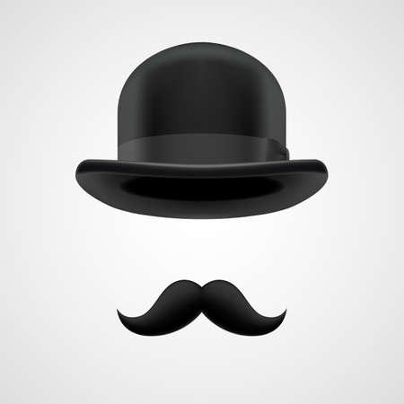 巻き毛のレトロな口ひげとボウラー帽子要素です。灰色の酷似に神秘的なビクトリア朝の上司 写真素材 - 30510723
