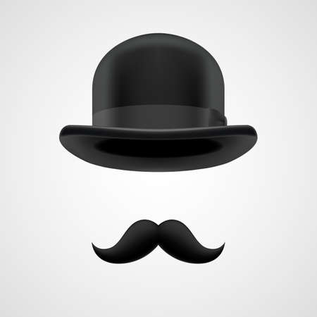 hombre con sombrero: rizados bigotes retro y elementos sombrero bombín. misterioso jefe victoriana en fundamento gris Vectores