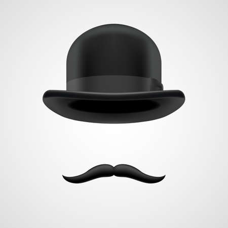 curly retro moustaches and bowler hat elements.  wealthy victorian aristocrat on grey bacground Illustration