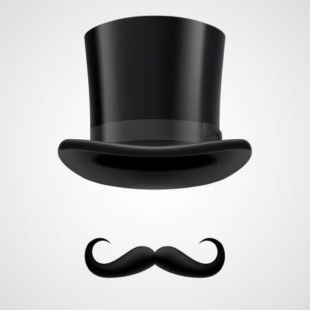 baffi retrò riccio ed elementi top cappello tubo da stufa. divertente gentiluomo vittoriano sul grigio bacground Vettoriali