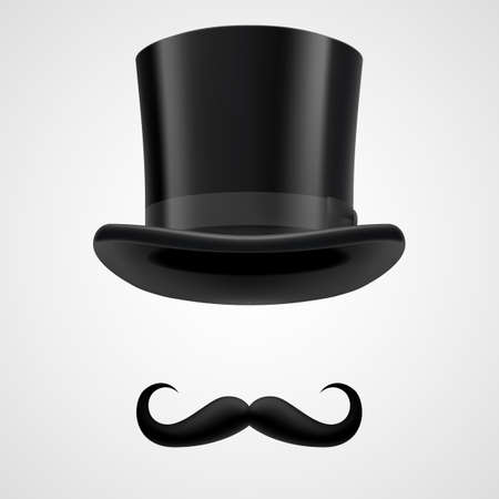 bacground: curly retro moustaches and stovepipe top hat elements. funny victorian gentleman on grey bacground