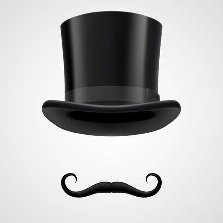 curly retro moustaches and top hat elements. mysterious victorian aristocrat on grey bacground Vector