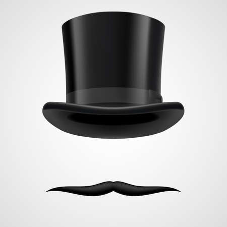 unbent moustaches and  stovepipe hat    funny victorian gentleman on grey bacground Vector