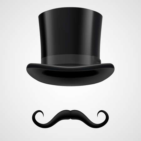 bacground: curly moustaches and black stovepipe retro hat, funny magician on grey bacground