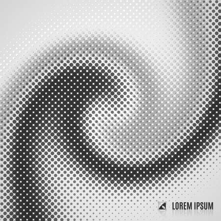 abstract white, grey and black  blurred curve decorative background with halftone, geometric element, spiral, stream, swirl, dots and vortex Illustration