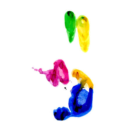 multi finger: Multicolored hand print on a white background Illustration