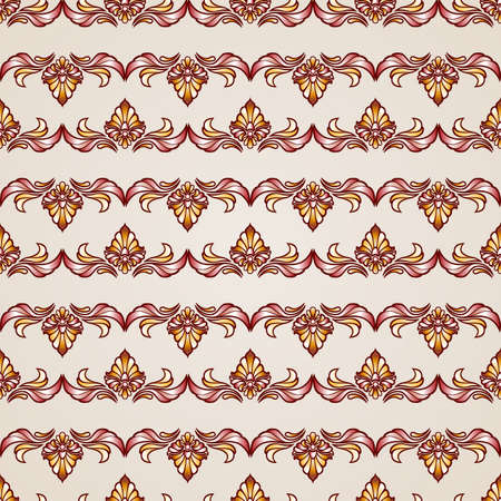 stripy: Stripy floral seamless pattern in brown and beige colors, EPS10