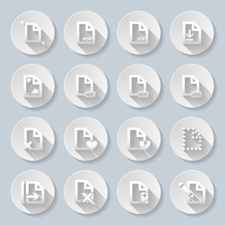 formats: Set of flat round icons  with formats on  gray background Illustration