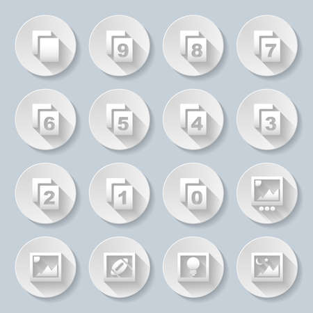 7 9: Set of flat round  icons  with pages on  gray background Illustration