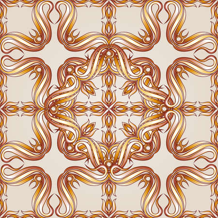 yellowish: Brown and yellowish  seamless vector pattern on beige background  Illustration