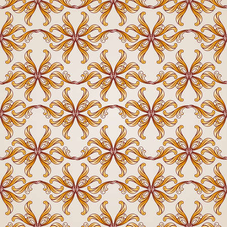 swirling: Brown yellow and orange seamless vector background