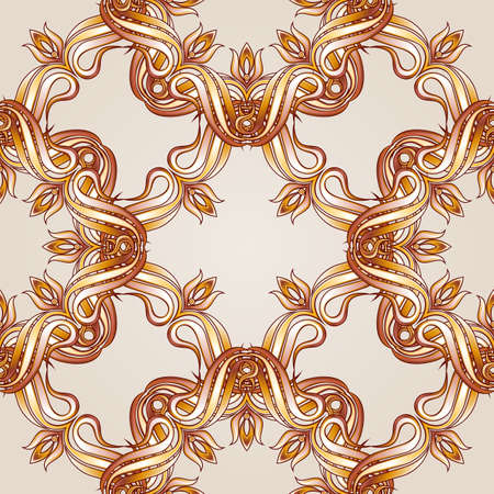 swirling: Brown and yellow seamless vector pattern for webpage, wallpaper   or ceramic tiles Illustration