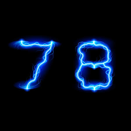 glister: Numbers 7 and 8 in lighting style