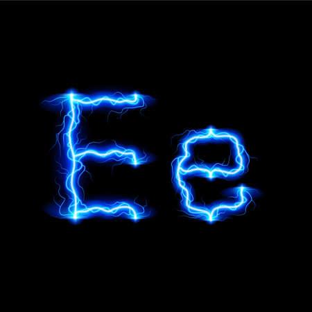fiery font: Gro�- und Kleinbuchstaben E in Beleuchtungsstil