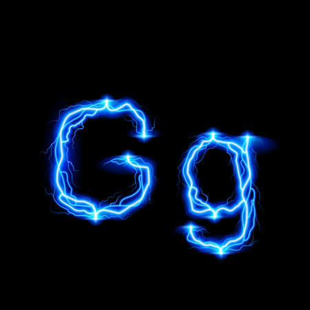 glister: Uppercase and lowercase letters G in lighting style