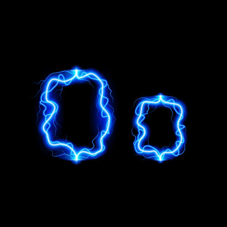 neon letter: Uppercase and lowercase letters O in lighting style Illustration