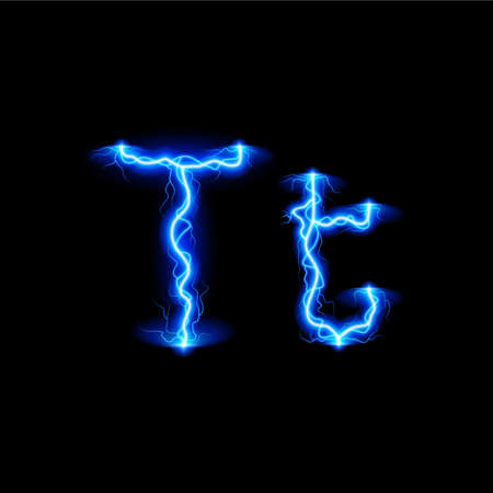 glister: Uppercase and lowercase letters T in lighting style