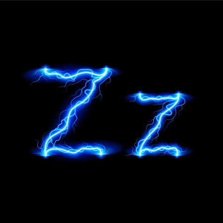 luminous: Uppercase and lowercase letters Z in lighting style Illustration