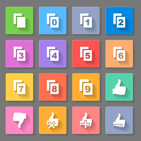 double page: Set of flats square  icons  with pages on  the gray background Illustration