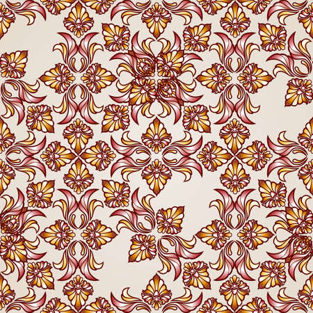 Saturated ornate seamless abstract floral pattern in shades  brown