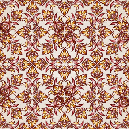 Saturated ornate seamless abstract floral pattern in the shades of brown Illustration