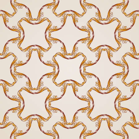 Seamless abstract floral pattern in the form of golden vine