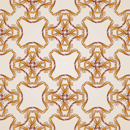 Seamless abstract floral pattern in  form of golden lines