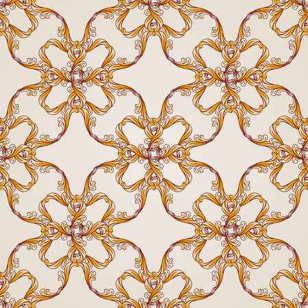 Seamless abstract floral pattern in the form of golden lines