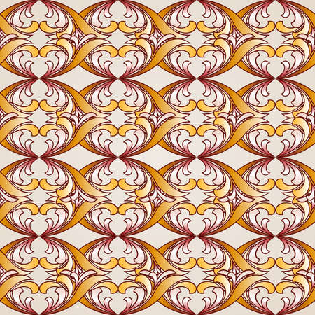 Saturated ornate seamless abstract floral pattern in shades of golden