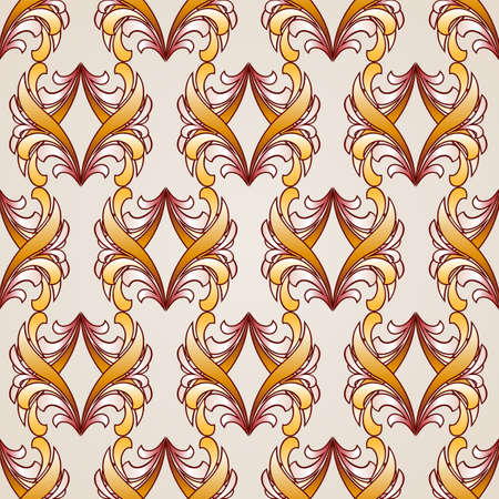 Vertical seamless abstract floral pattern in shades  golden