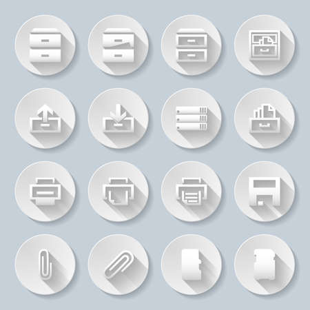 stack of documents: Set of flat round buttons on the gray background Illustration
