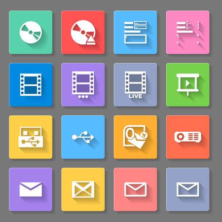 playback: Set of flat square  icons   on  gray background Illustration