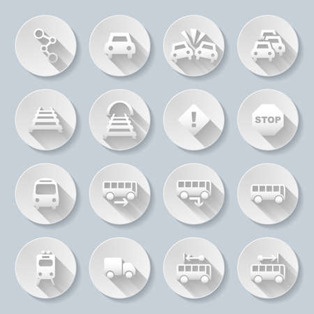 Set of flat round  icons  with transports  on  gray background Vector