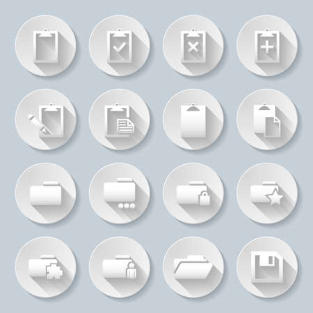 plus sign: Set of flat round icons with folders on the gray background Illustration