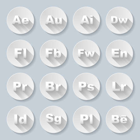 acronyms: Set of flat round  signs with programs and valuta on the gray background Illustration