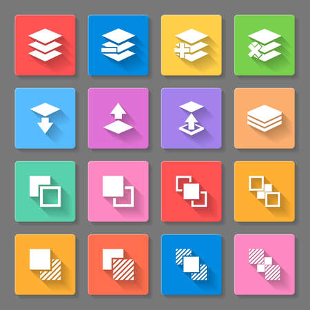 Set of flat square  icons  with functions for program on  gray background 일러스트