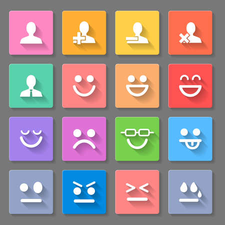 former: Set of square round  icons  on the gray background Illustration