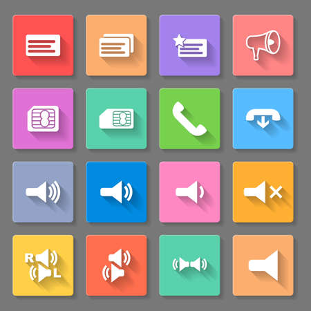 Set of flat square  icons   on the  gray  background Illustration