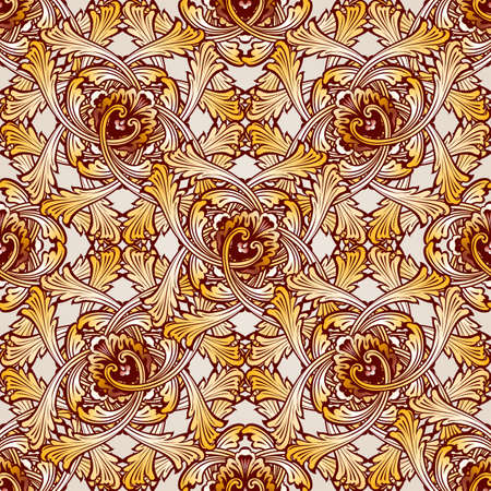 intricacy: Very saturated seamless abstract floral pattern in the form of vine
