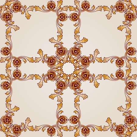 Saturated seamless abstract floral pattern in the form of ornate frameworks Illustration