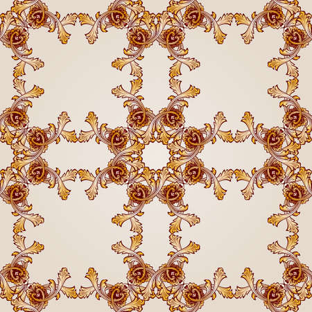 Saturated seamless abstract floral pattern in the form  ornate frameworks Illustration